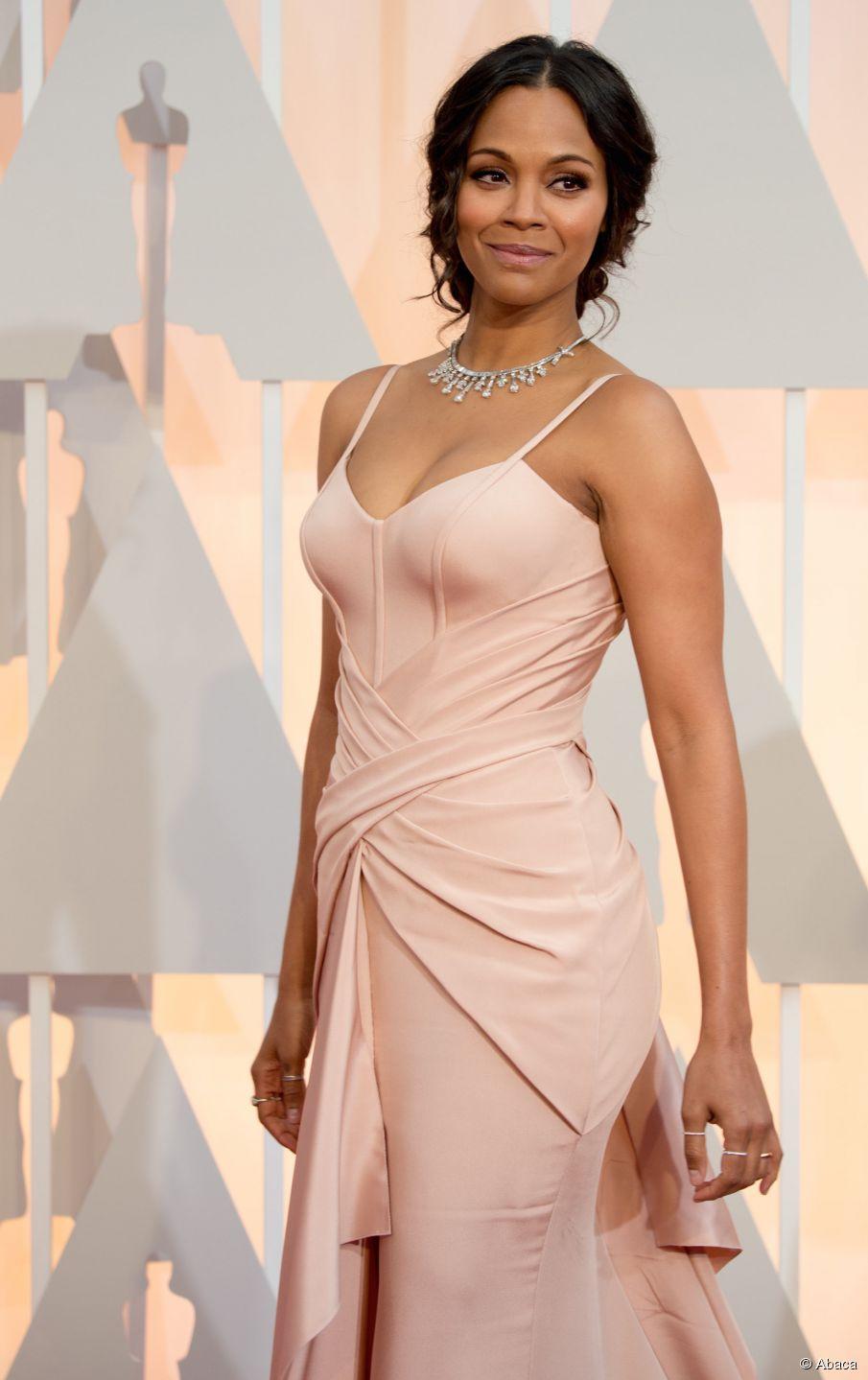 Lange Frisuren: Zoe Saldanas Oscar-Hochsteckfrisur
