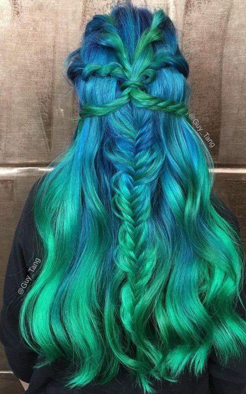 Grüne Haarfarbe Ideen für Beste Frisur
