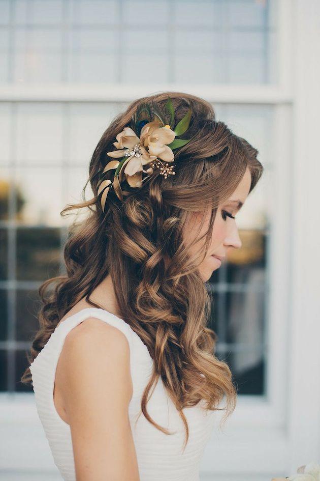 10 charmante halbe bis halbe Hochzeit Frisuren