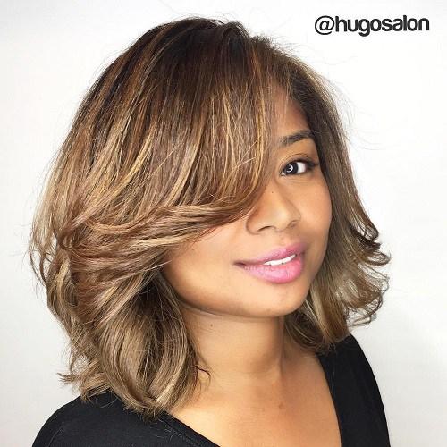 Top 60 schmeichelhafte Frisuren für runde Gesichter